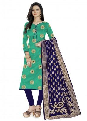 Banarasi Silk Churidar Salwar Suit in Sea Green