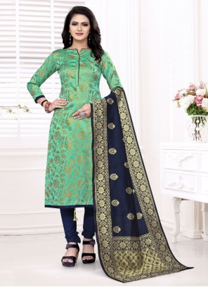 Banarasi Silk  Sea Green Churidar Suit
