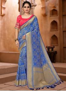 Banarasi Silk Classic Blue Designer Saree