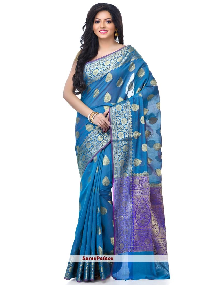Blue Banarasi Silk Classic Designer Saree