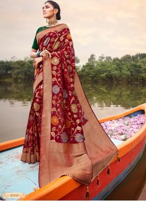Red Banarasi Silk Classic Saree