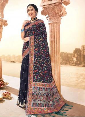 Banarasi Blue Silk Contemporary Saree