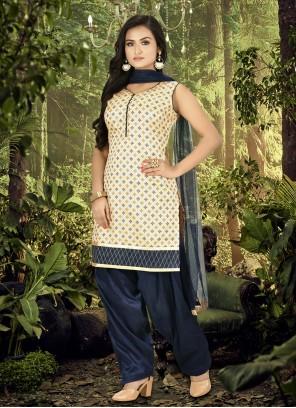 Banarasi Silk Cream and Navy Blue Designer Patiala Suit