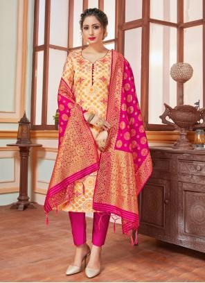 Banarasi Silk Cream Salwar Suit