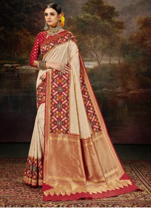 Banarasi Silk Cream Weaving Saree