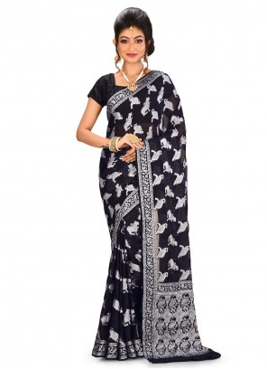 Black Banarasi Silk Designer Saree