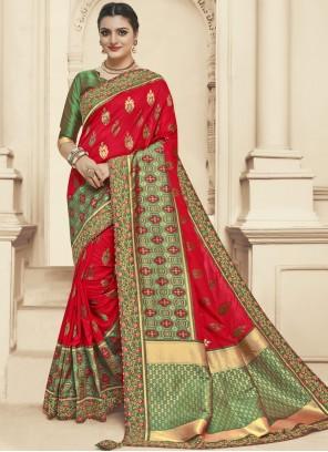 Banarasi Silk Designer Saree in Green and Red