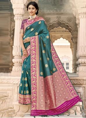 Banarasi Silk Designer Saree in Rama