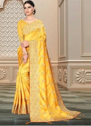 Banarasi Silk Designer Saree in Yellow