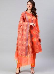 Banarasi Silk Designer Suit in Peach