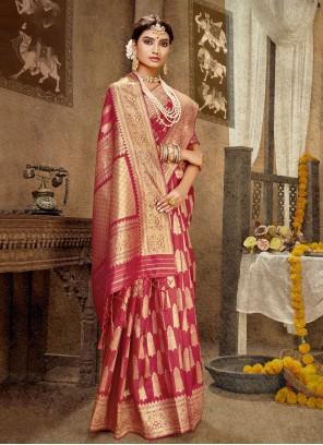Pink Banarasi Silk Designer Traditional Saree