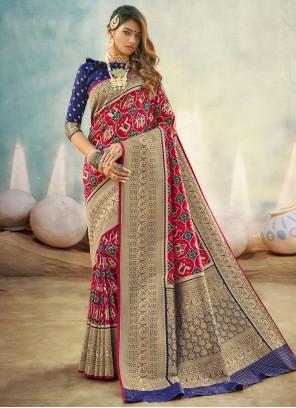 Banarasi Silk Multi Colour Designer Traditional Saree