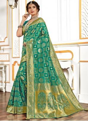 Banarasi Silk Designer Traditional Saree in Sea Green