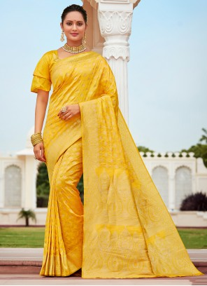 Banarasi Silk Designer Traditional Saree in Yellow