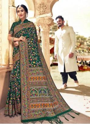Banarasi Silk Digital Print Green Classic Saree