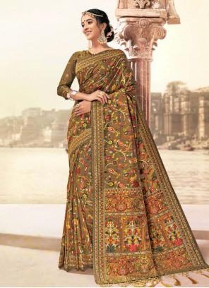 Banarasi Silk Digital Print Mustard Classic Saree