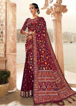 Banarasi Silk Digital Print Purple Classic Saree