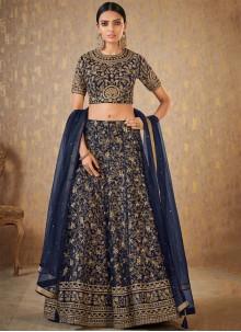 Banarasi Silk Embroidered A Line Lehenga Choli in Navy Blue