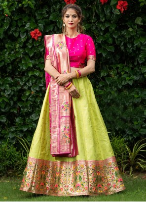 Banarasi Silk Embroidered Green A Line Lehenga Choli