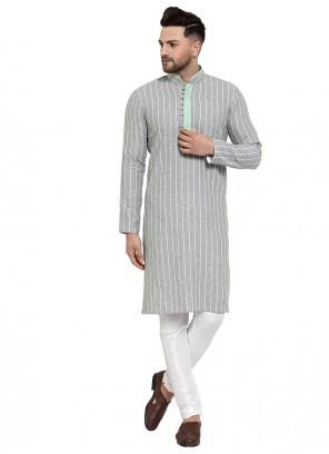 Banarasi Silk Embroidered Green Kurta Pyjama