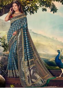 Banarasi Silk Embroidered Silk Saree in Blue