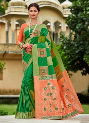 Banarasi Silk Green Engagement Designer Traditional Saree