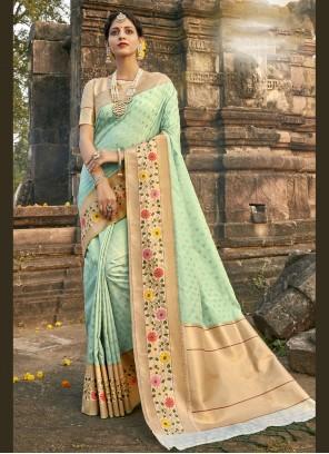 Banarasi Silk Fancy Aqua Blue Designer Traditional Saree