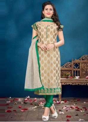 Banarasi Silk Fancy Beige and Green Readymade Suit