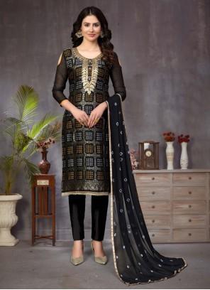 Banarasi Silk Fancy Black Churidar Suit