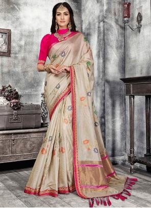Banarasi Silk Fancy Cream Traditional Designer Saree
