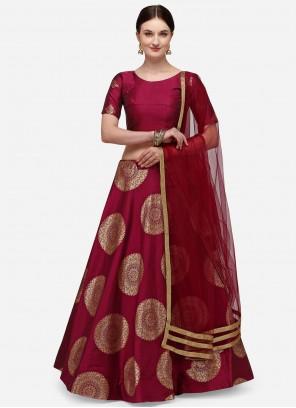 Banarasi Silk Fancy Lehenga Choli in Maroon