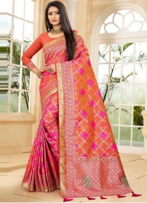 Banarasi Silk Fancy Orange and Pink Designer Traditional Saree