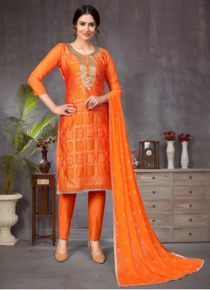 Banarasi Silk Fancy Orange Churidar Designer Suit