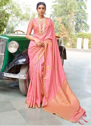 Banarasi Silk Fancy Pink Designer Traditional Saree