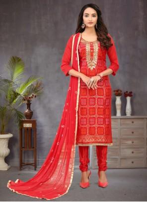 Banarasi Silk Fancy Red Churidar Salwar Kameez