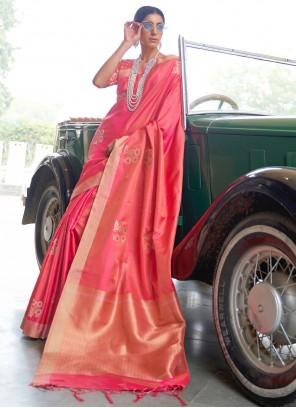 Banarasi Silk Fancy Rose Pink Traditional Designer Saree