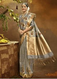 Banarasi Silk Fancy Traditional Designer Saree in Grey