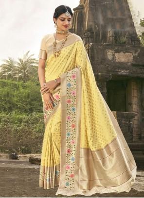 Yellow Banarasi Silk Fancy Traditional Saree
