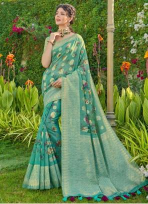 Banarasi Silk Fancy Traditional Saree in Sea Green