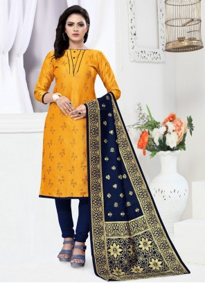 Banarasi Silk Festival Yellow Churidar Designer Suit