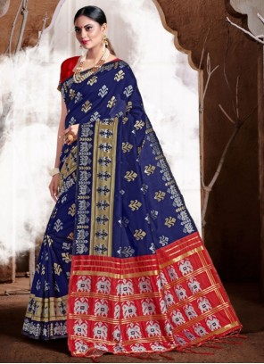 Blue Banarasi Silk Festival Classic Saree