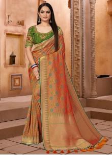 Banarasi Silk Festival Orange Classic Saree