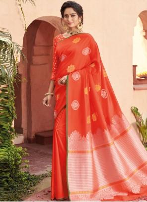 Orange Banarasi Silk Festival Designer Saree