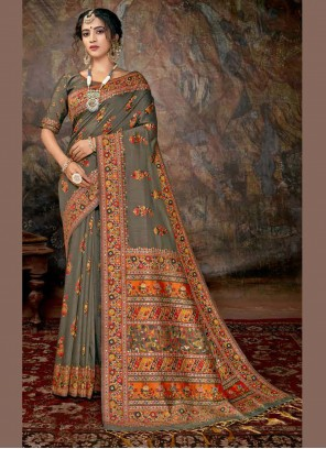 Banarasi Silk Festival Multi Colour Designer Saree