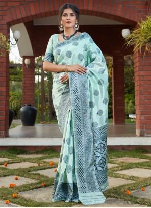 Banarasi Silk Festival Designer Turquoise Traditional Saree