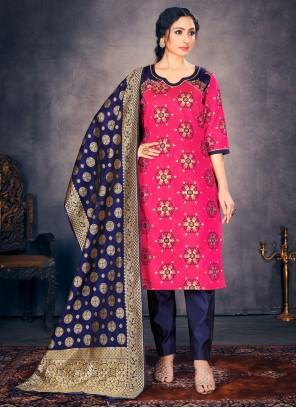 Hot Pink Banarasi Silk Festival Pant Style Suit