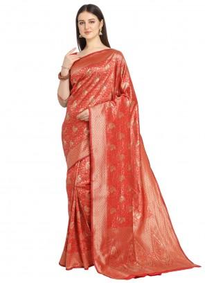 Red Banarasi Silk Festival Traditional Designer Saree