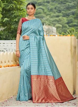 Banarasi Silk Aqua Blue Festival Traditional Designer Saree