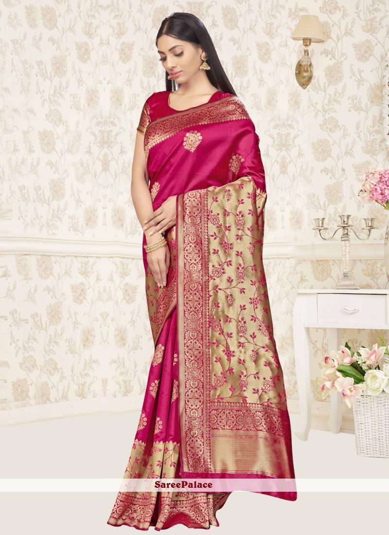 Banarasi Silk Festival Hot Pink Traditional Saree