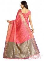 Banarasi Silk Fuchsia Designer Traditional Saree